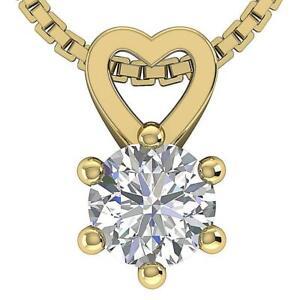 VVS1 E 0.30 Ct Gift For Mother Heart Solitaire Pendant Natural Diamond 14K Gold