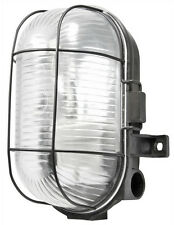 Powermaster S5879 Oval Caged Bulkhead Light 60 W Black