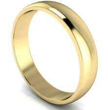 9ct Yellow Gold D Shape Wedding Ring Plain Band, Solid UK Hallmarked & Made