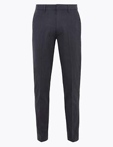 "C1 BNWT M&S Charcoal Textured Slim Fit Chino Trousers Waist 36"" Leg 29"""