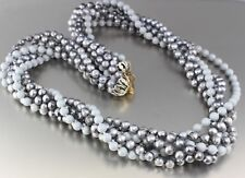 VINTAGE 60'S MULTI 6 STRAND GRAY PLASTIC PEARL BEAD NECKLACE