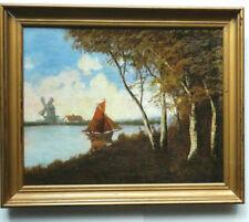 MARINE PAYSAGE HOLLANDAIS Bâteau au Voiles Rouge et Moulin Toile 1880 50x60cm