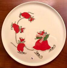 Plat rond souris, porcelaine de Limoges peinte à la main, noël art de la table