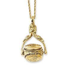 "3 Locket 30"" Necklace Gold Tone 1928 Boutique"