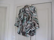 Ladies Button Down Long Blouse/ Shirt  Design Noni B Size 12  Colour Blue,Brown