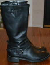 ECCO Women'Black Soft Leather Mid Calf Side Zip Buckle Riding Style Boots SZ 37