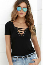 Ladies Summer Sexy V Neck Lace Up T-Shirt Short Sleeve Loose Tops Casual Blouse