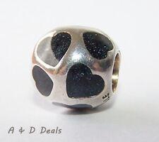 Pandora Genuine Sterling Silver Black Hearts Charm Black Enamel #790543EN22