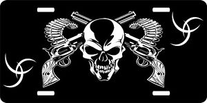 Skull  Guns Weapons Blue Steel Ammo Reaper Car & Truck Tag License Plate Parts