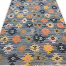 5X8 Flatweave Large Oriental Rug Faded Blue Color Diamond Kilim Rug