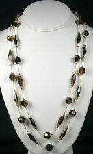 Vendome Brown Aurora Borealis Crystal Double Strand Necklace with Box