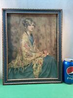 Vtg 1920-30's ALICE BLUE GOWN Arthur Garrett Beautiful Woman Shawl Print Frame
