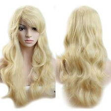"19"" Long Full Head Hair Wig Women Natutal Curly Wavy Cosplay Party Bleach Blonde"