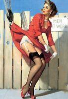 Grue Pin Up Girl Panneau Métallique Plaque Voûté Signe en Étain Métal 20 X 30 CM