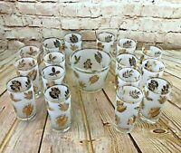 Vtg 16 Frosted Libbey Cocktail Glasses and Ice Bucket With Gold Leaves Pattern
