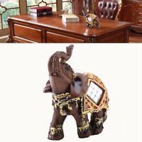 Wood Grain Sculpture Elephant Statue Wealth Lucky Feng Shui Figurine Home Decor