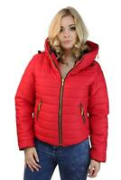 Womens Puffer Bomber Jacket Quilted Padded Hooded Zip Up Pocket Coat