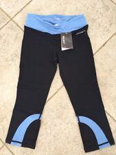 Baleaf Women's High Waist Yoga Capri Leggings Non See Thru Powder Blue Black XS