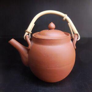Poterie céramique terre cuite théière marron vintage art déco table Chine N7403