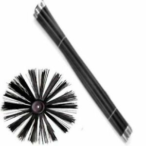 11 Piece Chimney Sweep Set | Flue Sweeping Brush & Rod Kit | Soot Cleaning Rods