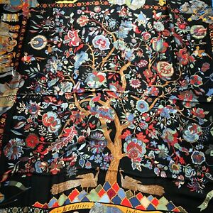 """Hermes scarf CARRE cashmere/silk 54 in shawl GM """"fantasie indiennes"""" back"""