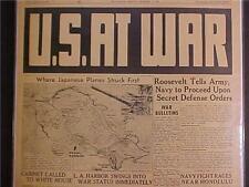 VINTAGE NEWSPAPER HEADLINE~WORLD WAR JAPANESE PLANES ATTACK US PEARL HARBOR WWII