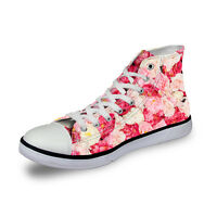08dcdb82419f Women Ladies Floral High Top Canvas Shoes Fashion Sports Shoes Comfy  Sneakers