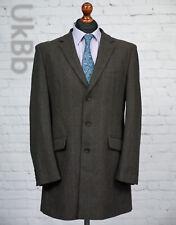 Cedar Wood State Wool Blend Winter Overcoat Jacket Brown Herringbone Check 42R