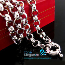 18k white gold GF ladies solid belcher chain bolt ring calsp long Necklace