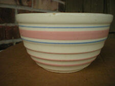 Vintage Hull Mixing Bowl with Pink and Blue Bands  USA