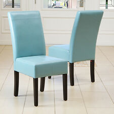 Set of 2 Dining Room Teal Blue Leather Parsons Dining Chairs