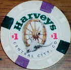 Old $1 HARVEYS Casino Poker Chip Vintage Antique H/C Mold Central City CO 1994