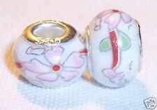 White Pink Red Ceramic Flower Large Bead Gift for Silver European Charm Bracelet