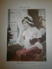 Gravure 19° 1899 couleur Peinture Laura Leroux l'oiseau en cage