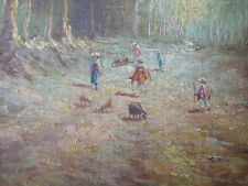 Exceptional Early Pastoral Oil Painting on Board Fanny Moncayo Listed Ecuadoran