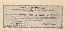 Berlin er Phönix Werkzeug Maschinenfabrik u Eisengiesserei Kupon 1873 vorm. Ohm