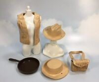 Vintage 1960's Marx Jane West Cowgirl Accessories vest frying pan hats