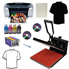 15x15 Heat Press Printer Refill Cartridges Transfer Paper Tshirt Start Up Bundle