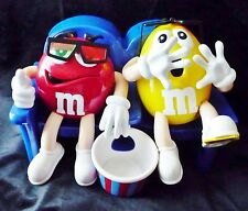 Mars M&M CANDY DISPENSER At the Movies Double Figures w/ 3-D glasses Peanut EUC
