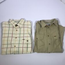 Lot of 2 Men's Large Orvis Button Up Long Sleeve Checker Grid Shirts EUC [FD01]