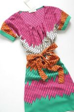 BISCUIT - printed shift dress + multicolour argyle + belt L / 12 UK