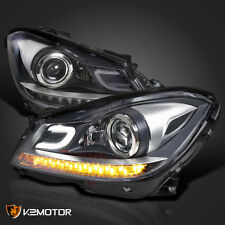 [Black] 2012-2014 Mercedes W204 C-Class Halogen LED DRL Projector Headlights