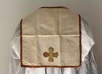 Voile de calice en tissu blanc croix dorée XIXe Siècle
