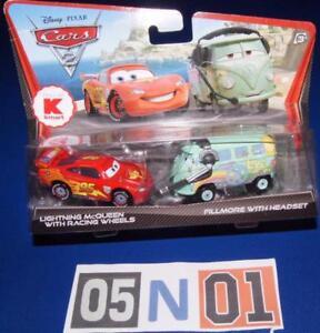 Disney Pixar Cars 2 Lightning McQueen w/ Racing Tires & Fillmore w/ Headset Cars