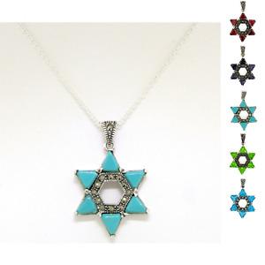 Sterling Silver Trillion Turquoise Garnet Amethyst Topaz Star of David Pendant