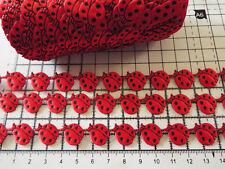 1 M-Encaje Cinta de Satén Rojo Mariquitas, - recorte, Apliques, tarjeta de Arte Decoración
