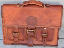 Men Goat Leather Laptop Sling Bag Crossbody Shoulder Messenger Travel Hiking