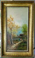 "Oil on Canvas Painting Nicely Framed Landscape Figural Signed 29""x17"""
