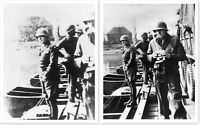 General George Patton Urinating In Rhine River Pair Of WWII Silver Halide Photos