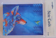 8 Leanin Tree Note Cards, VERY BRIGHT COLORFUL WOLF & HUMMINGBIRD Micqaela Jones